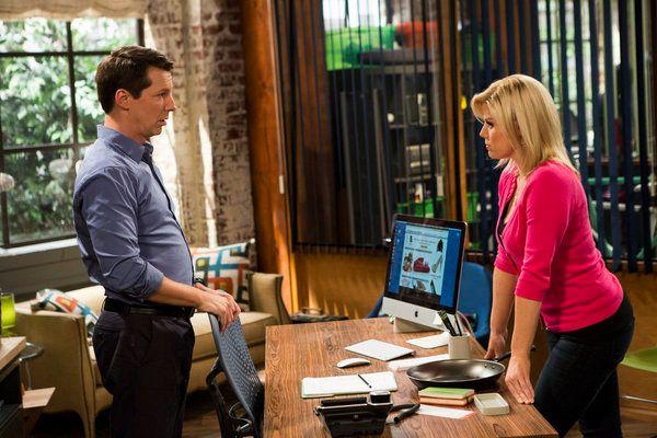 Pictured: (l-r) Sean Hayes as Sean, Megan Hilty as Liz