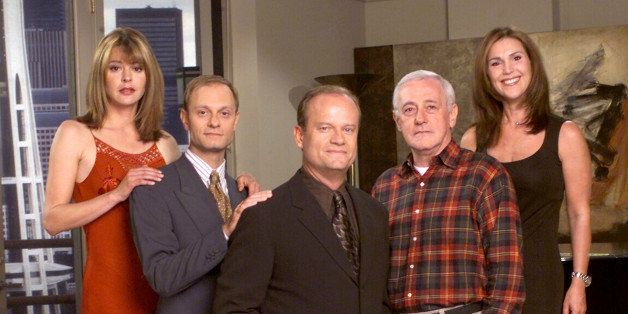 385849 12: Cast Members Of Nbc Television Comedy Series 'Frasier' Pictured: (L-R) Jane Leeves As Daphne Moon, David Hyde Pier