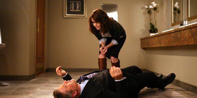 30 ROCK -- 'Retreat To Move Forward' Episode 309 -- Pictured: (l-r) Alec Baldwin as Jack Donaghy, Tina Fey as Liz Lemon -- NB