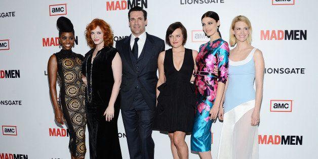LOS ANGELES, CA - MARCH 20:  (L-R) Actors Teyonah Parris, Christina Hendricks, Jon Hamm, Elisabeth Moss, Jessica Pare and Jan