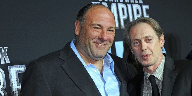 NEW YORK - SEPTEMBER 15:  James Gandolfini and Steve Buscemi attend the premiere of 'Boardwalk Empire' at the Ziegfeld Theatr