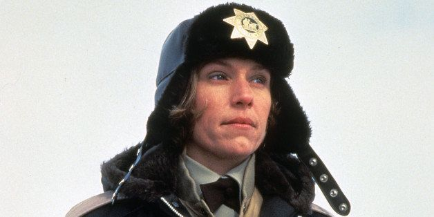 Frances McDormand bundled up in police uniform in a scene from the film 'Fargo', 1996. (Photo by Gramercy Pictures/Getty Imag