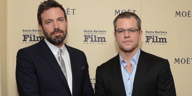 SANTA BARBARA, CA - JANUARY 25:  Actors Ben Affleck (L) and Matt Damon visit The Moet & Chandon Lounge at The Santa Barbara I