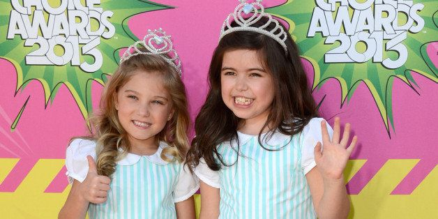 LOS ANGELES, CA - MARCH 23:  Singers Sophia Grace (L) and Rosie arrive at Nickelodeon's 26th Annual Kids' Choice Awards at US