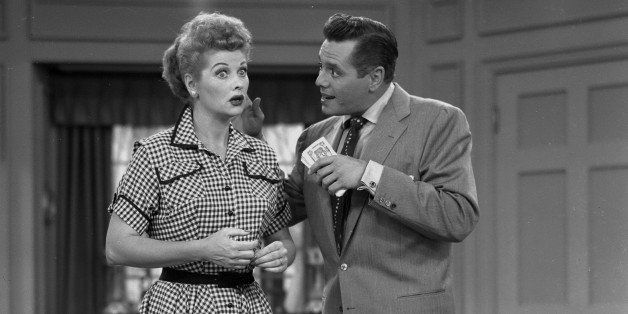 American actress Lucille Ball (1911 - 1989) (as Lucy Ricardo) and her husband, Cuban actor Desi Arnaz (1917 - 1986) (as Ricky
