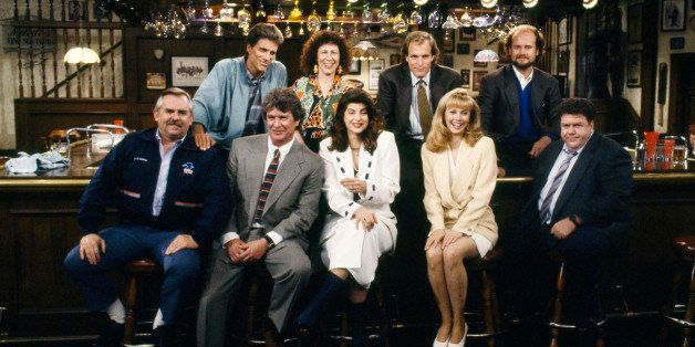 CHEERS -- 'One for the Road' Episode 25 -- Aired 5/20/93 -- Pictured: (Back row l-r) Ted Danson as Sam Malone, Rhea Perlman a