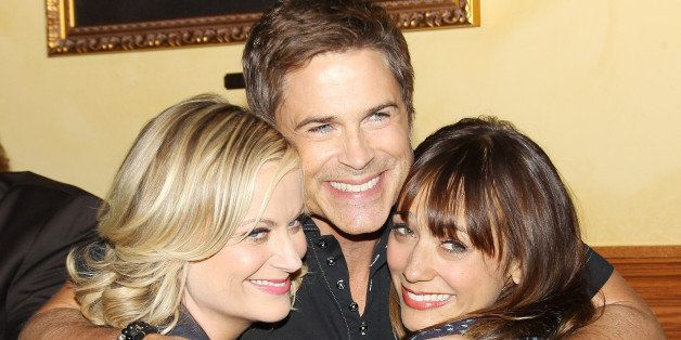 STUDIO CITY, CA - OCTOBER 16:  (L-R) Amy Poehler, Rob Lowe and Rashida Jones attend the 'Parks And Recreation' 100th episode
