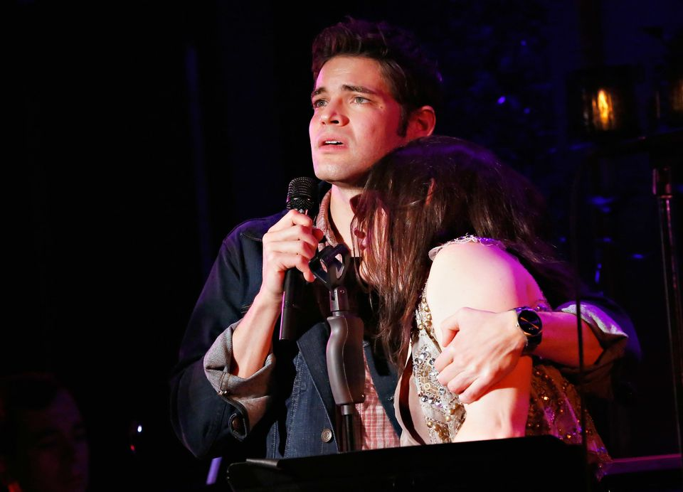 NEW YORK, NY - DECEMBER 08:  Actors Jeremy Jordan and Carrie Manolakos perform in 'Hit List' At 54 Below on December 8, 2013