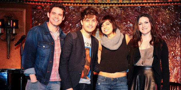 NEW YORK, NY - DECEMBER 06:  (L-R) Jeremy Jordan, Andy Mientus, Krysta Rodriguez and Carrie Manolakos attend the 'Hit List' p