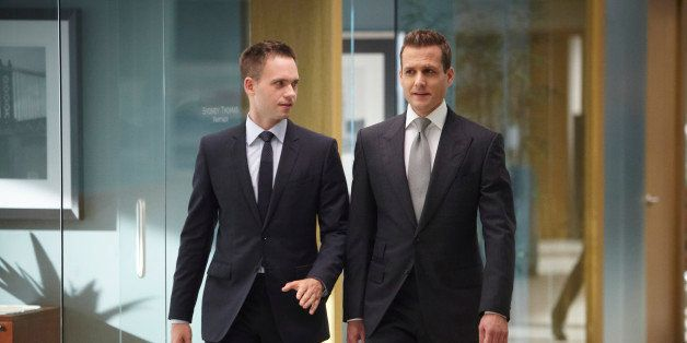 SUITS -- 'Bad Faith' Episode 309 -- Pictured: (l-r) Patrick J. Adams as Michael Ross, Gabriel Macht as Harvey Specter -- (Pho