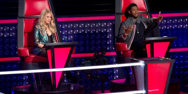THE VOICE -- 'Knockout Rounds' Episode 411 -- Pictured: (l-r) Shakira, Usher -- (Photo by: Ben Cohen/NBC/NBCU Photo Bank via