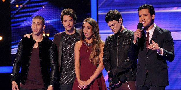 HOLLYWOOD, CA - DECEMBER 12: (L-R) Finalists Carlito Olivero, Alex & Sierra, Jef Gutt and host Mario Lopez onstage on FOX's '