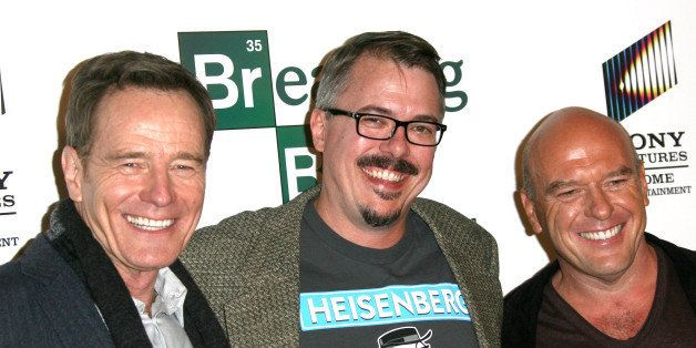 LOS ANGELES, CA - NOVEMBER 25:  (L-R) Actor Bryan Cranston, creator Vince Gilligan and actor Dean Norris attend the Sony Pict