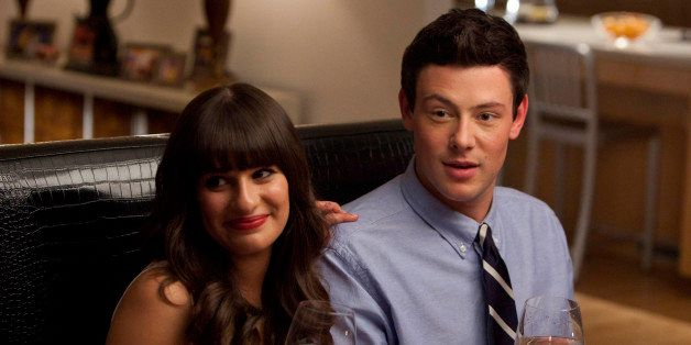 GLEE: Rachel (Lea Michele) and Finn (Cory Monteith) have dinner with her dads in the 'Heart' episode of GLEE airing Tuesday,