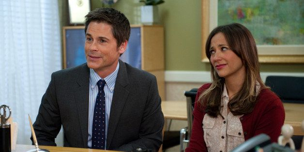 PARKS AND RECREATION -- 'Partridge' Episode 517 -- Pictured: (l-r) Rob Lowe as Chris Traeger, Rashida Jones as Ann Perkins --