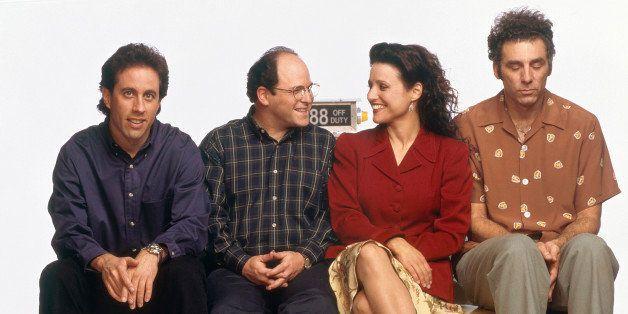 SEINFELD -- Season 6 -- Pictured: (l-r) Jerry Seinfeld, Jason Alexander as George Costanza, Julia Louis-Dreyfus...