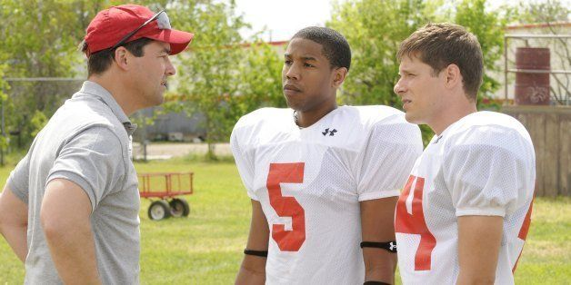 FRIDAY NIGHT LIGHTS -- 'Expectations' Episode 1 -- Pictured: (l-r) Kyle Chandler as Coach Eric Taylor, Michael B. Jordan as V