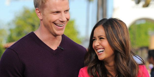 UNIVERSAL CITY, CA - JANUARY 23:  Sean Lowe (L) and Catherine Giudici visit 'Extra' at Universal Studios Hollywood on January