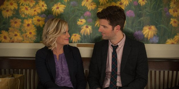 PARKS AND RECREATION -- 'London' Episode 601/602 -- Pictured: (l-r) Amy Poehler as Leslie Knope, Adam Scott as Ben Wyatt -- (