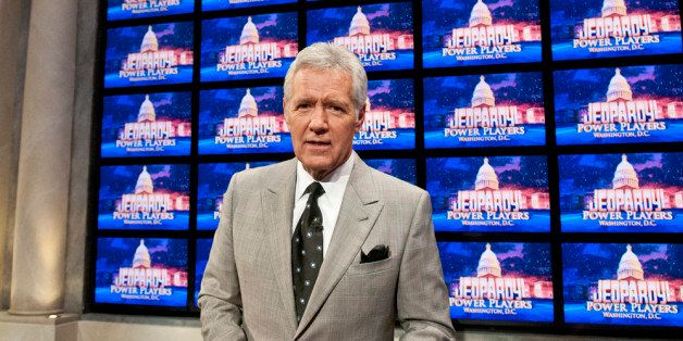 WASHINGTON, DC - APRIL 21: Alex Trebek speaks during a rehearsal before a taping of  Jeopardy! Power Players Week at DAR Cons