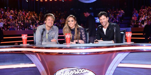 HOLLYWOOD, CA - FEBRUARY 26: (L-R) Judges Keith Urban, Jennifer Lopez, and Harry Connick Jr. are seen on FOX's 'American Idol