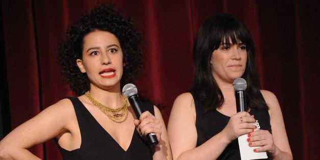 NEW YORK, NY - JANUARY 21:  Actress lana Glazer (L) and Abbi Jacobson attend Comedy Central's 'Broad City' Screening & Premie