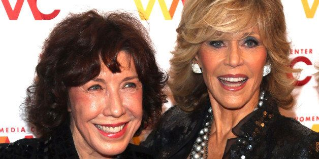 NEW YORK, NY - OCTOBER 08:  Lily Tomlin (L) and Jane Fonda attend the 2013 Women's Media Awards at 583 Park Avenue on October