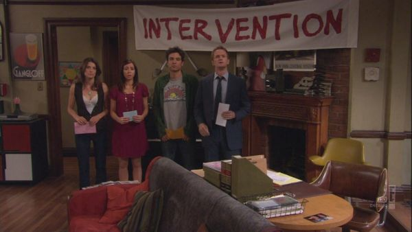 """During all the gang's interventions, the crew went through three """"Intervention"""" banners. """"We did a scene where it catches on"""