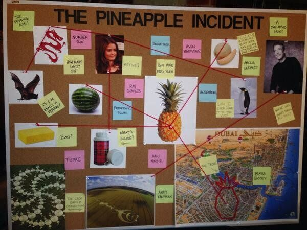 """""""They wanted to throw people off because they knew people were going to freeze frame it,"""" Baker said of the infamous Pineappl"""