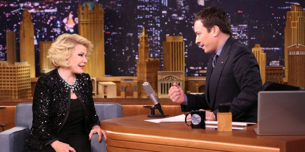 THE TONIGHT SHOW STARRING JIMMY FALLON -- Episode 0029 -- Pictured:  Television personality Joan Rivers during an interview w