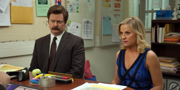 PARKS AND RECREATION -- 'Prom' Episode 618 -- Pictured: (l-r) Nick Offerman as Ron Swanson, Amy Poehler as Leslie Knope -- (P