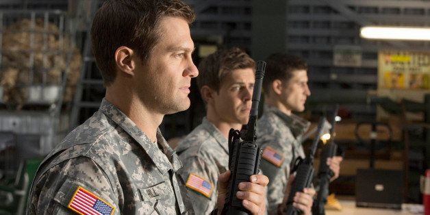 ENLISTED: (L-R) Geoff Stults, Chris Lowell and Parker Young in the 'Rear D Day' episode of ENLISTED airing Friday, Feb. 7, 20