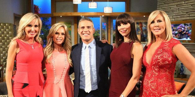 THE REAL HOUSEWIVES OF ORANGE COUNTY -- 'Reunion' -- Pictured: (l-r) Shannon Beador, Tamra Judge, Andy Cohen, Heather Dubrow,