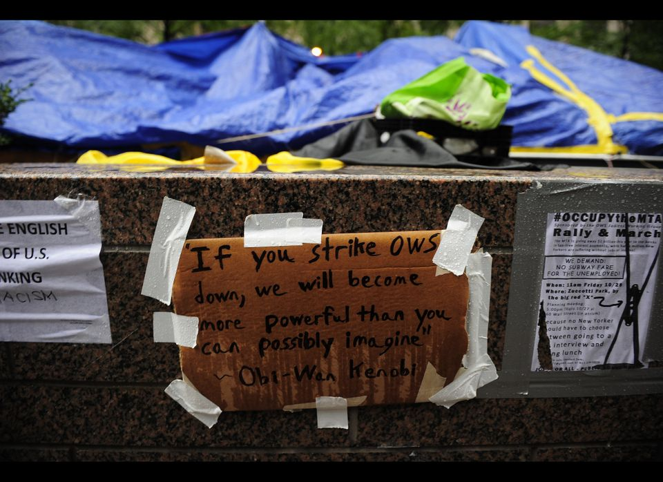 Rain falls over a sign at Occupy Wall Street on Zuccotti Park near Wall Street in New York, October 27, 2011. AFP PHOTO/Emman
