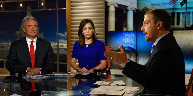 MEET THE PRESS -- Pictured: (l-r) ? Alex Castellanos, Republican Strategist, Hallie Jackson, NBC News Correspondent, and moderator Chuck Todd appear on 'Meet the Press' in Washington, D.C., Sunday July 31, 2016. (Photo by: William B. Plowman/NBC/NBC NewsWire via Getty Images)