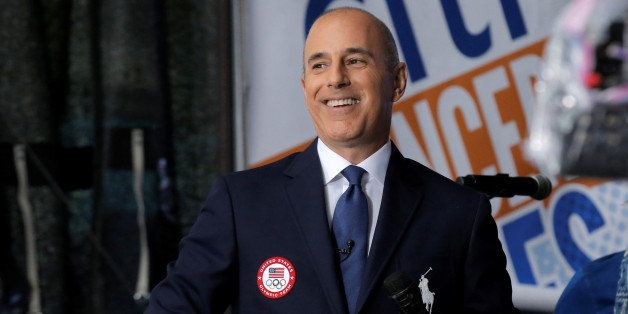 NBC's 'Today' show anchor Matt Lauer models the official Opening Ceremony outfit that Team USA members will wear by Polo Ralp
