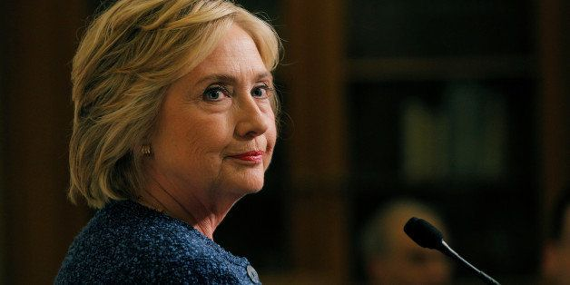 """U.S. Democratic presidential candidate Hillary Clinton speaks to reporters after holding a """"National Security Working Session"""