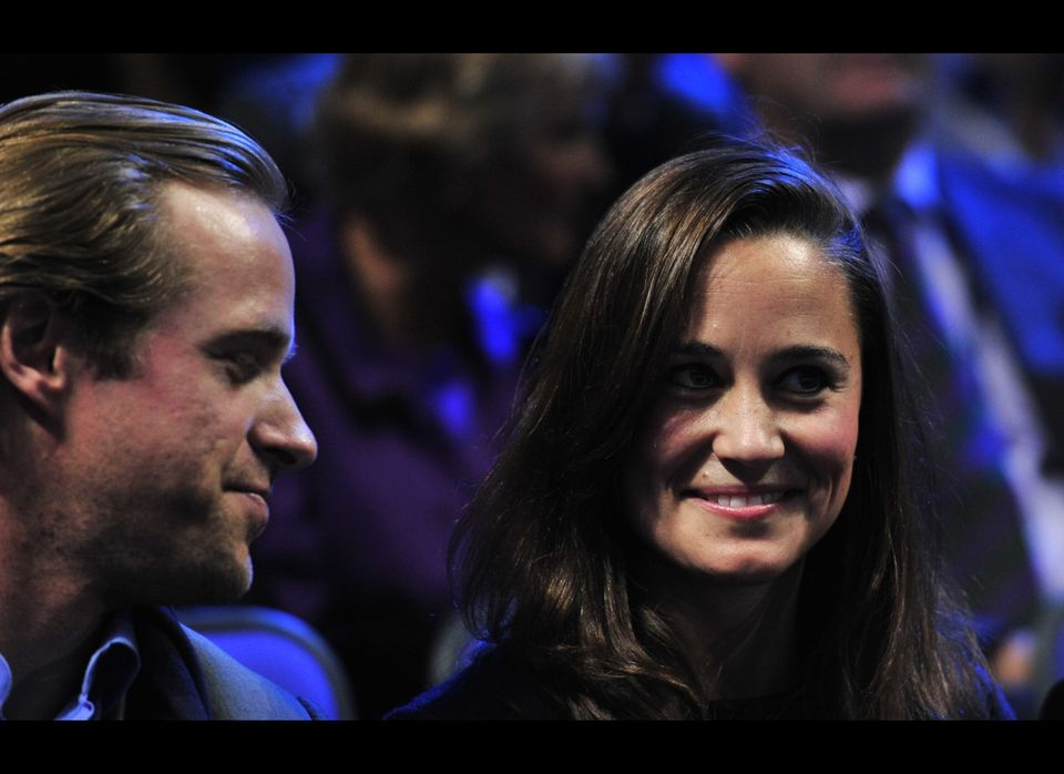 Pippa Middleton, sister of Catherine, Duchess of Cambridge, watches Jo-Wilfried Tsonga of France play against Roger Federer o