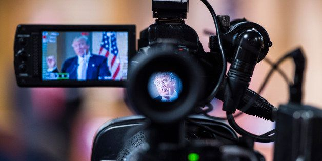 HANAHAN, SC - FEBRUARY 15: Republican presidential candidate Donald Trump is seen speaking through a camera at a press confer