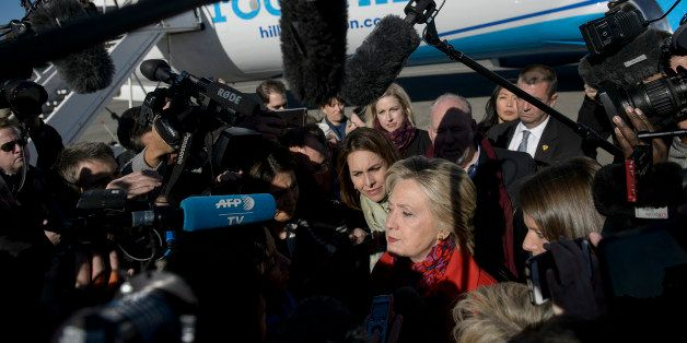 Democratic presidential nominee Hillary Clinton speaks to press before boarding her plane at Westchester County Airport Novem
