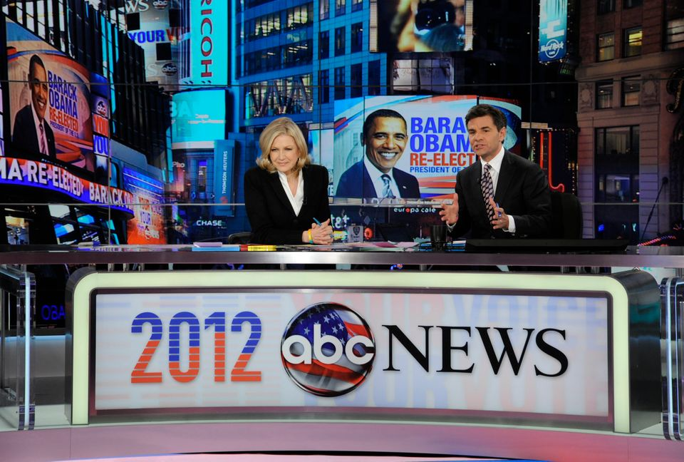 This photo released by ABC shows Diane Sawyer, left, and George Stephanopoulos during election night coverage early Wednesday
