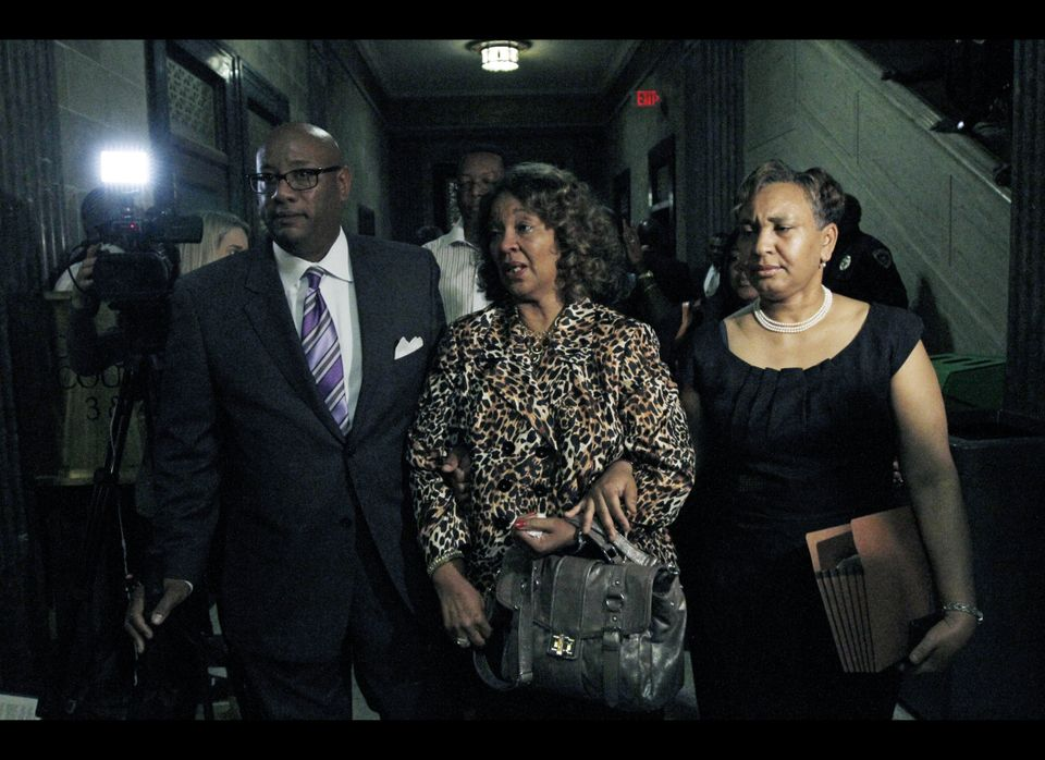 Barbara Anderson Young, sister of James Craig Anderson, center and family members, leave Hinds County Circuit Court Wednesday