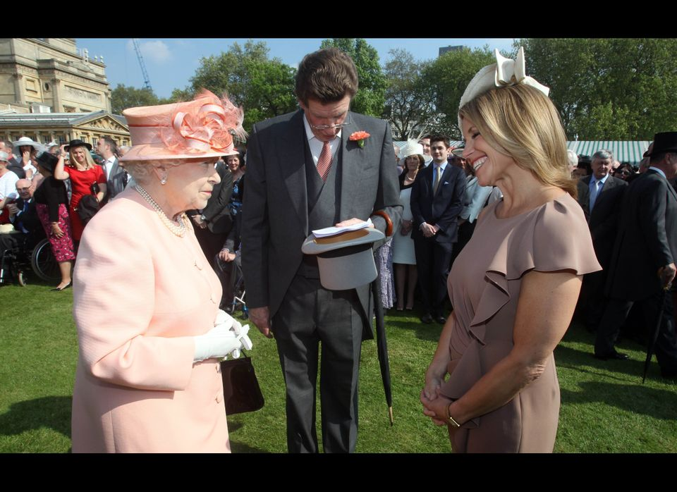 LONDON, UNITED KINGDOM - MAY 22:  Queen Elizabeth II meets American television journalist Katie Couric at the first Buckingha