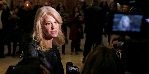 Kellyanne Conway, campaign manager and senior advisor to the Trump Presidential Transition Team, speaks to reporters at Trump