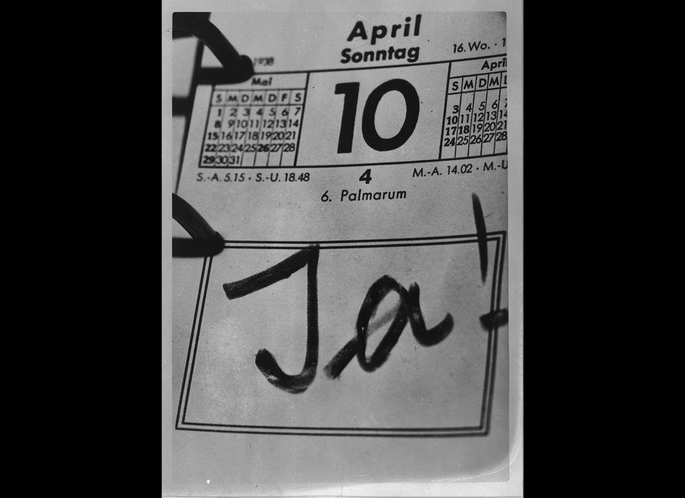 German Nazi Chancellor Adolf Hitler has written 'JA !' on his calendar on April 10, 1938 thus celebrating the success of his