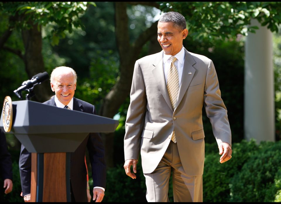 US President Barack Obama and Vice President Joe Biden arrive to honor the 2012 National Association of Police Organizations