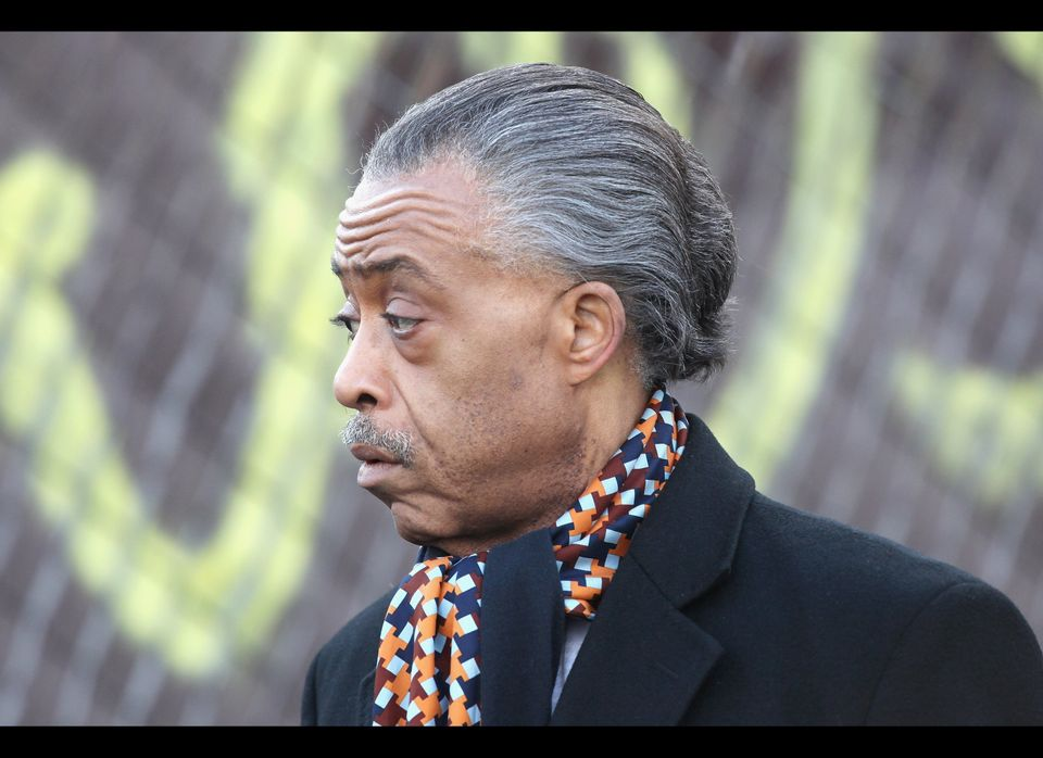 NEWARK, NJ - FEBRUARY 18:  Rev. Al Sharpton  interviewed by the media after the funeral service for Whitney Houston on Februa