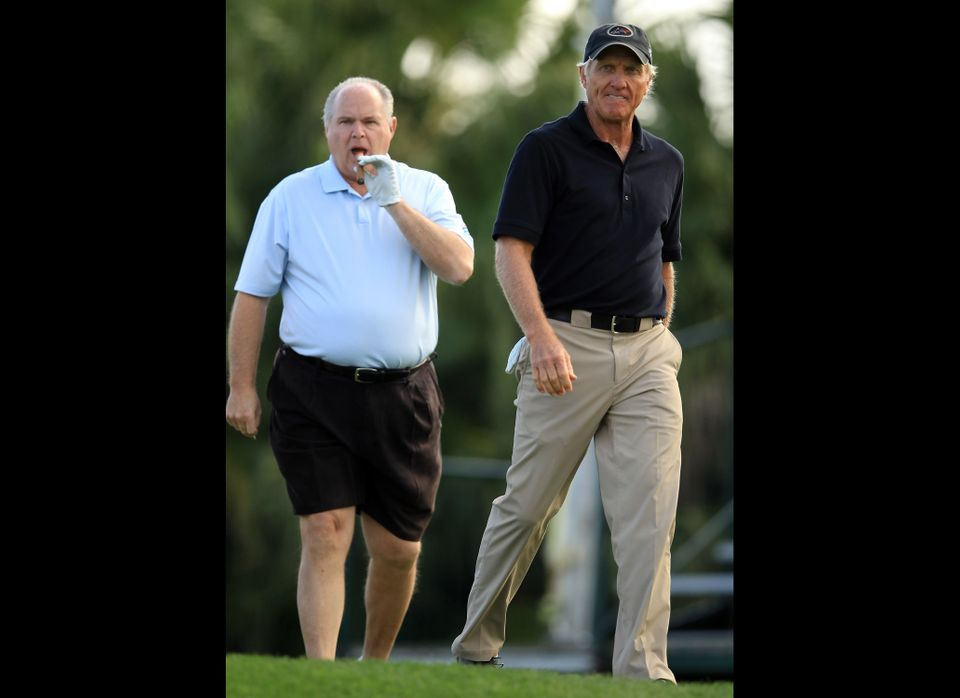 WEST PALM BEACH, FL - MARCH 12:  Rush Limbaugh of the USA the radio personality with Greg Norman of Australia during the Els