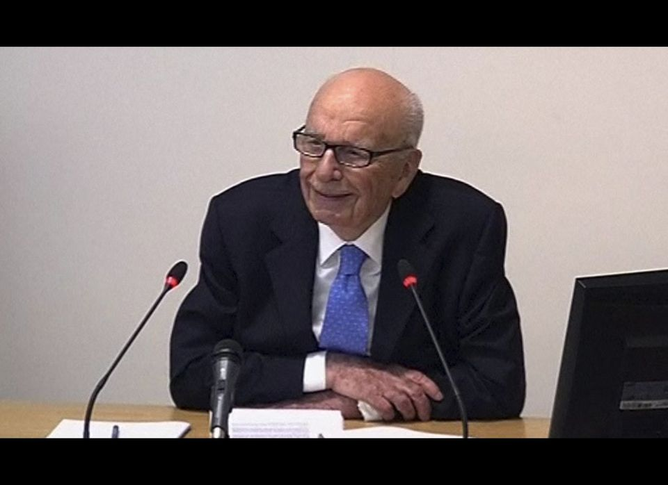 In this image from video, News Corp. chairman Rupert Murdoch appears at Lord Justice Brian Leveson's inquiry in London, Wedne