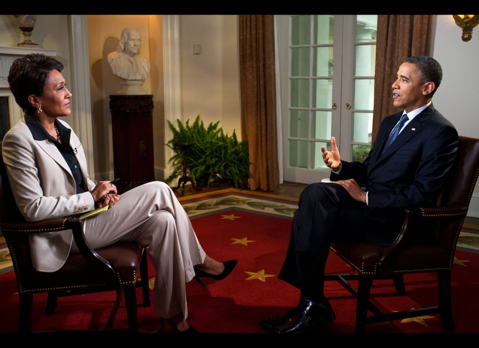 WASHINGTON, DC - MAY 9: U.S. President Barack Obama participates in an interview with Robin Roberts of ABC's Good Morning Ame